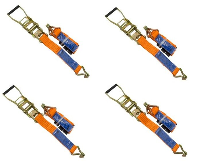 Set of 4 ratchet straps for trailers 3 m/50 mm/4 t