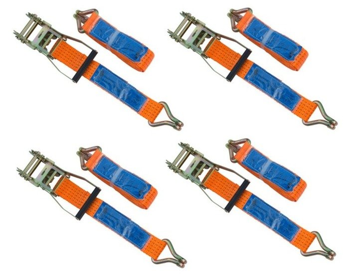 Set of 4 ratchet straps for trailers 6 m/50 mm/5 t